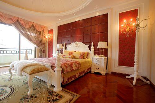 三居室欧式风格橙色温馨卧室装修效果图