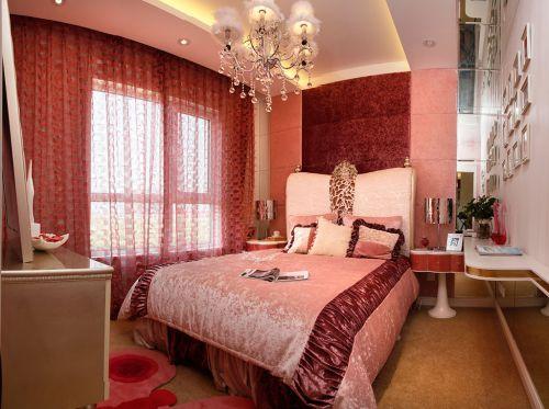 欧式风格浪漫婚房卧室窗帘效果图