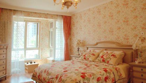甜美碎花欧式风格卧室飘窗实景效果图