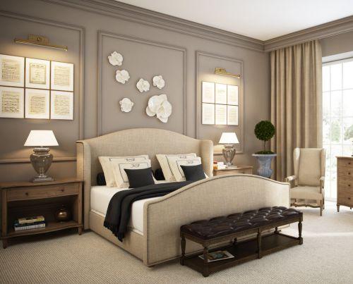 灰色温馨奢华欧式风格卧室效果美图