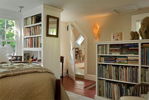 简约欧式四居室卧室白色隐形门装修效果图