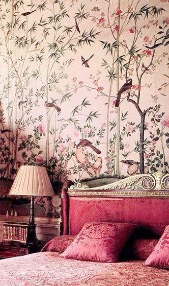 温馨欧式风格粉色卧室壁纸装修实景图