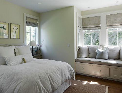 简约清新欧式风格卧室飘窗柜设计图