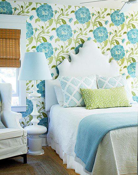 清新花卉欧式风格卧室壁纸装修实景图