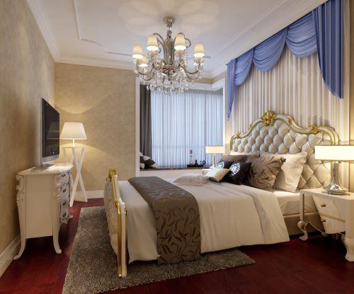 简约欧式三居室卧室飘窗装修效果图欣赏