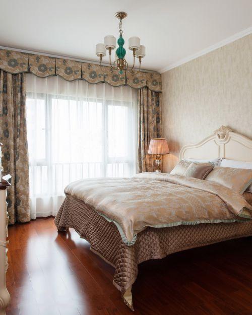 清新欧式风格三居室卧室窗帘效果图欣赏