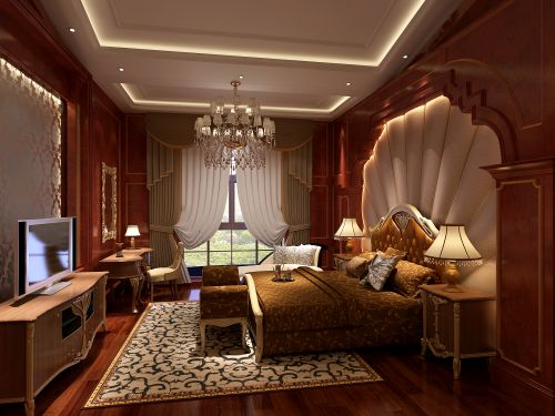 欧式,华丽,清新四居室卧室装修效果图