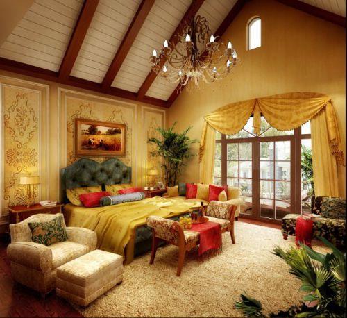 欧式乡村别墅卧室装修图片