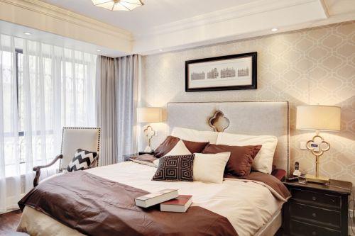 典雅欧式风格卧室卧床装修实景图