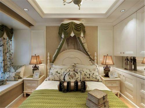 田园风格三居室卧室窗帘装修效果图