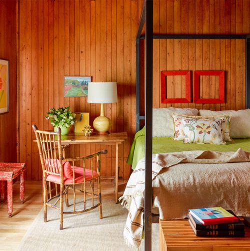 田园风格温暖原木色卧室装修实景图