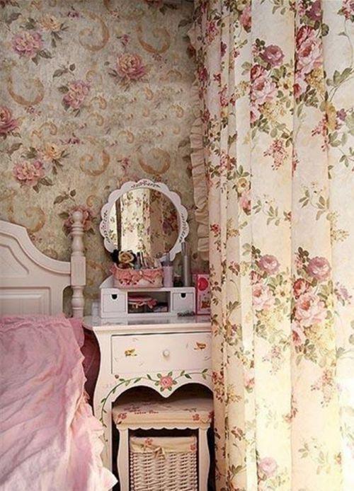 田园风格卧室彩色梳妆台效果图