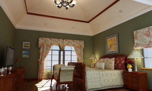 美式田园风卧室窗帘效果图