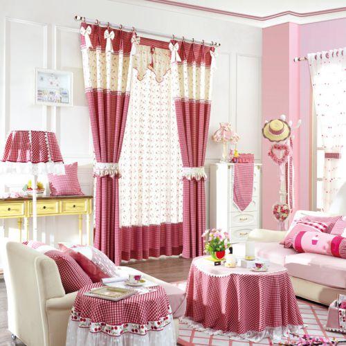 粉色拼色田园卧室波点可爱窗帘效果图