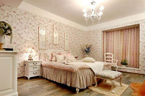 田园风格卧室甜美碎花壁纸装修效果图