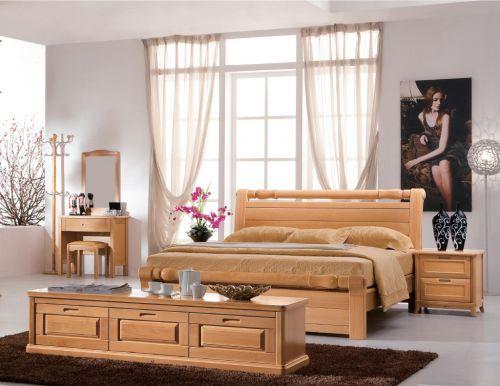 田园风格原木色卧室床头柜效果图