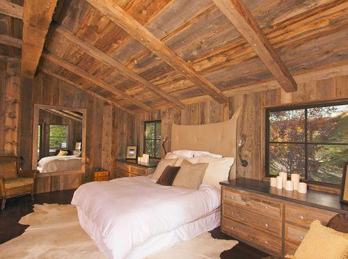 田园风格原木色大卧室床设计