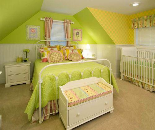 清新绿色田园风格儿童房间卧室装修效果图
