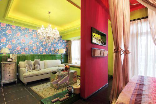 三居室田园风格彩色卧室巧隔断装修效果图
