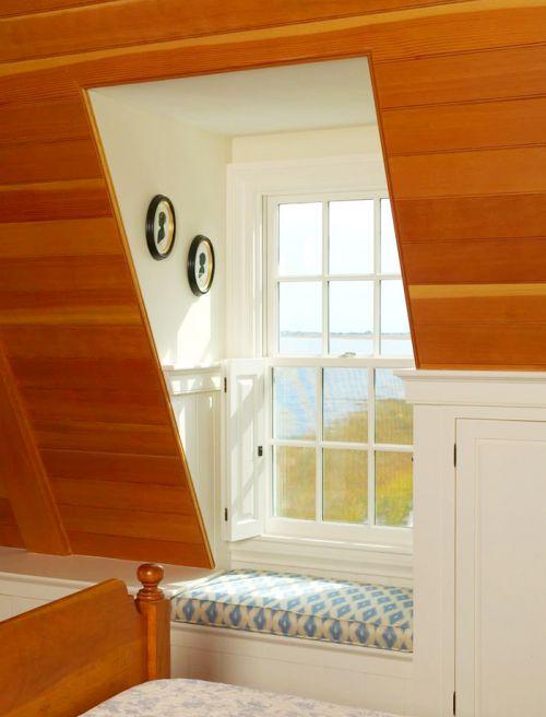 原木色田园风格小卧室飘窗设计