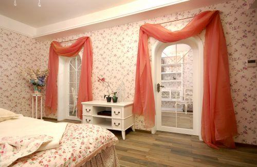 田园风格卧室粉色壁纸效果图
