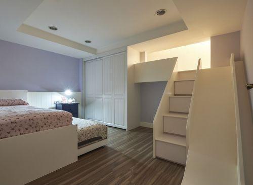 田园风卧室白色嵌入式衣柜装修设计图