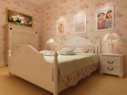 田园风卧室粉色系衣柜装修设计图