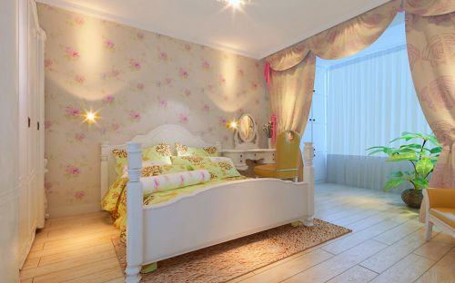 田园风格二居室卧室床头柜装修效果图