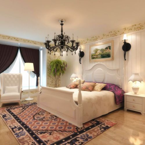 田园风格二居室卧室吊顶装修效果图