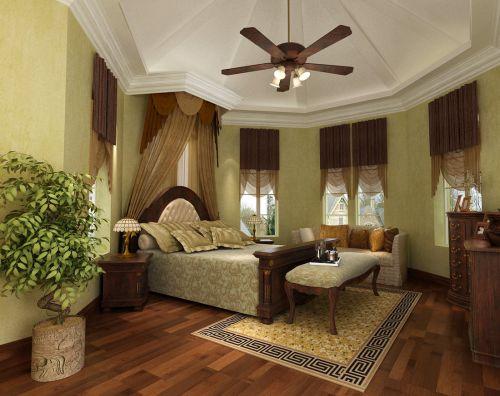 田园风格别墅卧室床装修图片