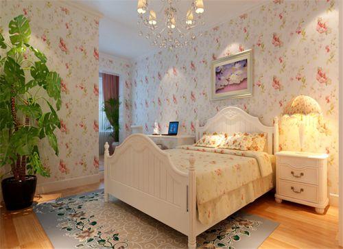 田园风格二居室卧室窗帘装修效果图大全