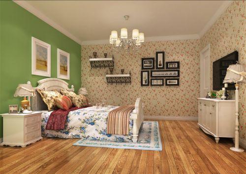 田园风格三居室卧室照片墙装修效果图