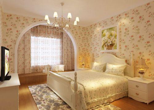 田园风格二居室卧室壁纸装修效果图欣赏