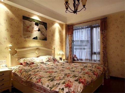 田园风格三居室卧室吊顶装修效果图