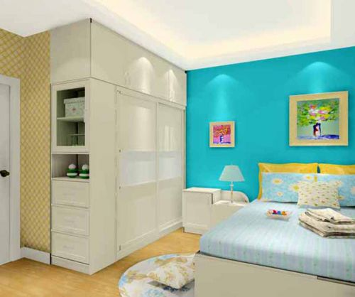 田园风格二居室卧室组合柜装修图片
