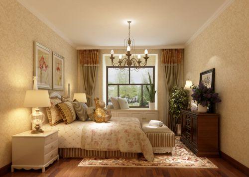 田园风格三居室卧室吊顶
