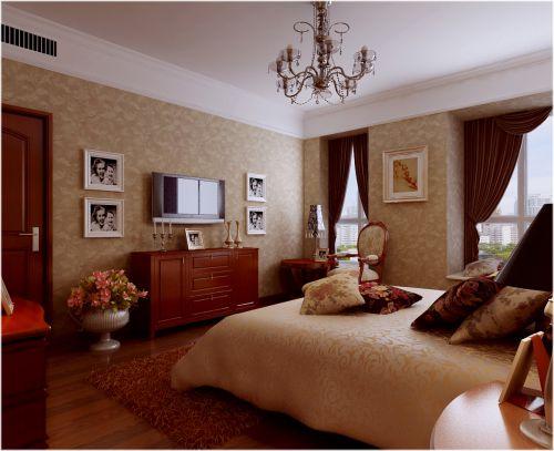 田园风格三居室卧室背景墙装修效果图大全