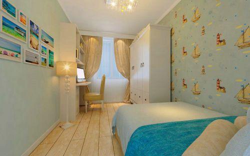 田园风格三居室卧室照片墙装修效果图欣赏