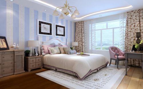 田园风格二居室卧室壁纸装修效果图大全