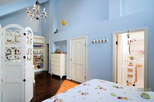 田园风格四居室卧室背景墙装修效果图欣赏