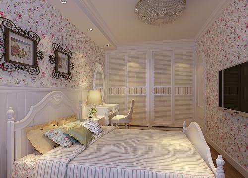 田园风格一居室卧室背景墙装修效果图大全