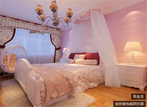 田园风格三居室卧室床头柜装修图片