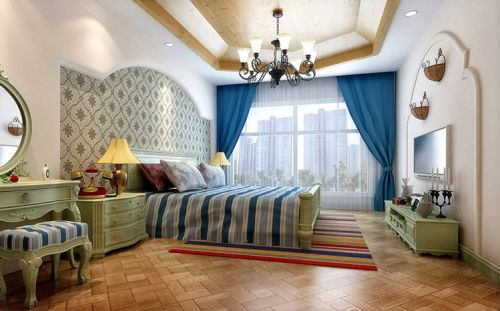 田园风格二居室卧室吊顶装修效果图欣赏