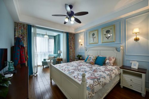 田园风格三居室卧室背景墙装修图片