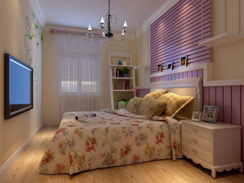 田园风格一居室卧室窗帘装修效果图