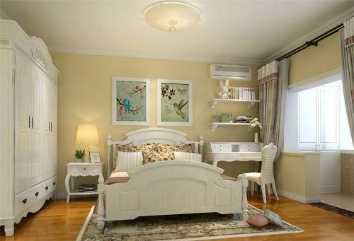 田园风格二居室卧室背景墙装修效果图