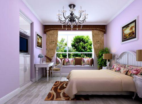 美式田园五居室卧室背景墙装修效果图