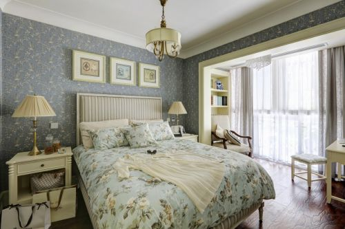 舒适田园风格卧室卧床装修实景图