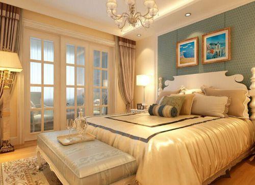 地中海风格三居室卧室床头柜装修图片