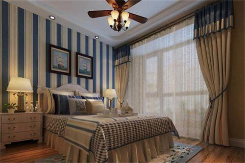 地中海风格二居室卧室壁纸装修图片